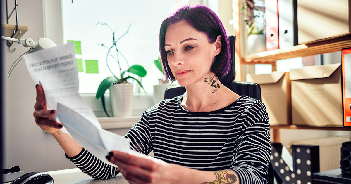 purple hair, stripes, shirt, black and white, tattoo, neck tattoo, woman, credit score, paper