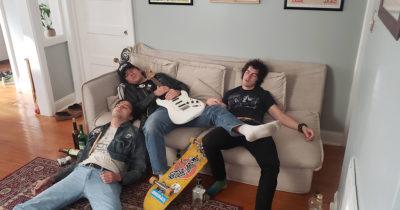 gas leak, guitar, skateboard, leather, dead, sleep, white noise, punk house, dirty, scary