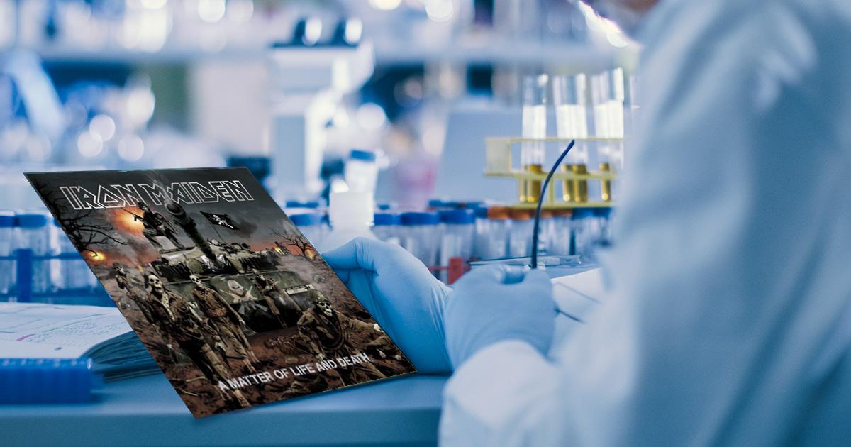 iron maiden, blue, lab, sterile, science, scientist, album, vinyl, time, cut, song