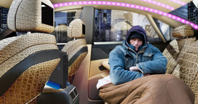 car, led lights, cold, blankets, tv, hoodie, homeless, fancy, plush