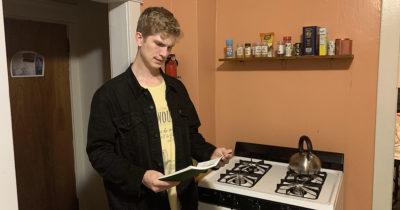 racist, family recipe, book, orange, kitchen, punk, black jacket, cool, stove, range