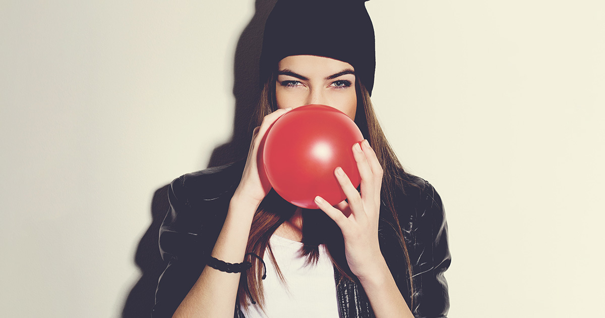 balloon, girl, hat, vintage filter, artsy, drugs, inhale, high, bored, relax