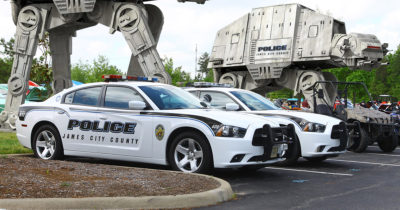 police, car, AT-AT, cannons, laser, old, decommission, military, parking lot
