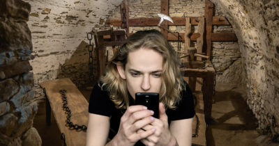medieval, torture, museum, old, classic, metal, weird, poser, creepy, woman, phone, google, blonde