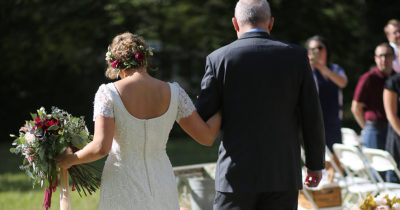 dress, white, open back, flowers, father, aisle, walk, sunny, outside, skin tone, light, white, blonde, suit, tie, fancy