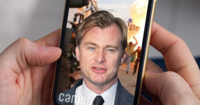 Christopher nolan, cameo, video, special effects, phone, ugly, screen, explosion, fire, action, dramatic, thriller, movie