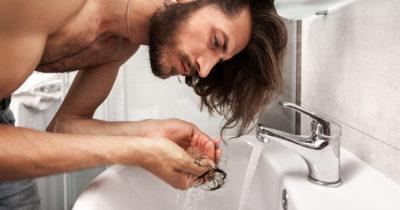 bald, hair, long, falling out, brown hair, beard, bathroom, messy, sad, stress