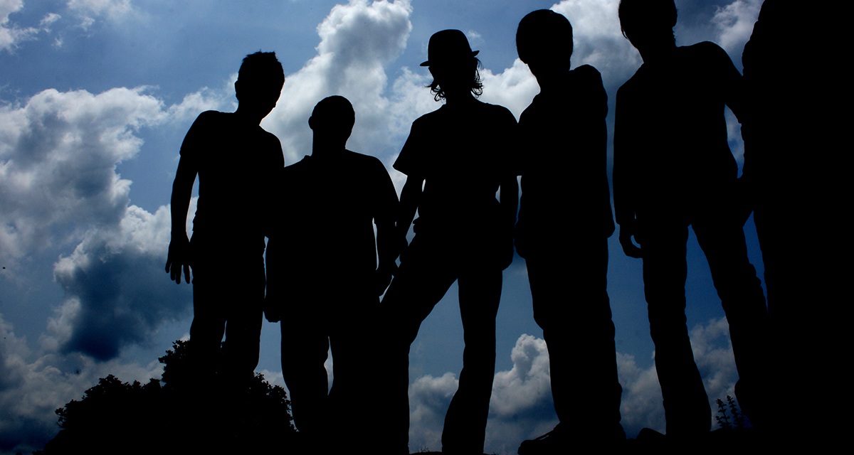 silhouettes, blue sky, dark, scary, emo, picture, photoshoot, cool, badass, sad