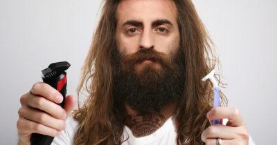 beard, metal, grow, shave, brown hair, fluffy, greasy, gross, razor, white shirt, white guy, dad