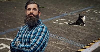 beard, flannel, cat