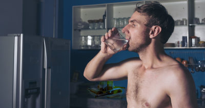 water, glass, shirtless, white guy, skinny, hairy, fridge, cold, glass, drink, late, night, bed, sip