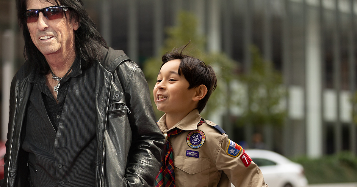 Boy Scout Unaware Old Woman He's Helping Cross Street Is Alice Cooper