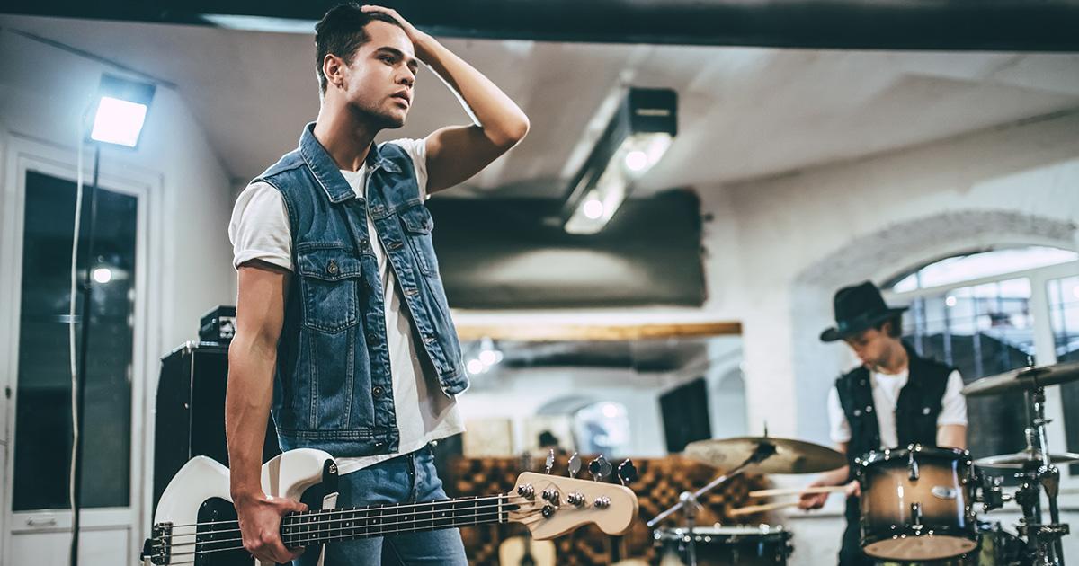 bassist, punk, stupid, dull, strings, two, extra, frets, denim jacket, tattoo, dumb, practice, rehearse, sad