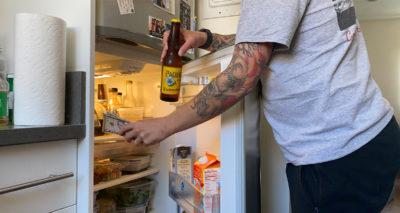 fridge, tattoo, forearm, beer, piss, gross, drunk, expensive, snacks, beverage, drink, cap, bottle opener, white guy, cheap, concert, recreate, fomo, fear of missing out