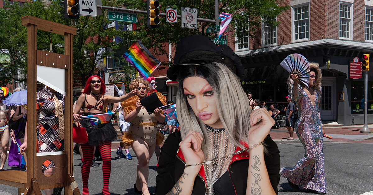 drag queen, woman, beautiful, blonde, highlights, brunette, tyranny, angry, proletariate, sad, lgbtq+, angry, revolt, behead, guillotine, kill