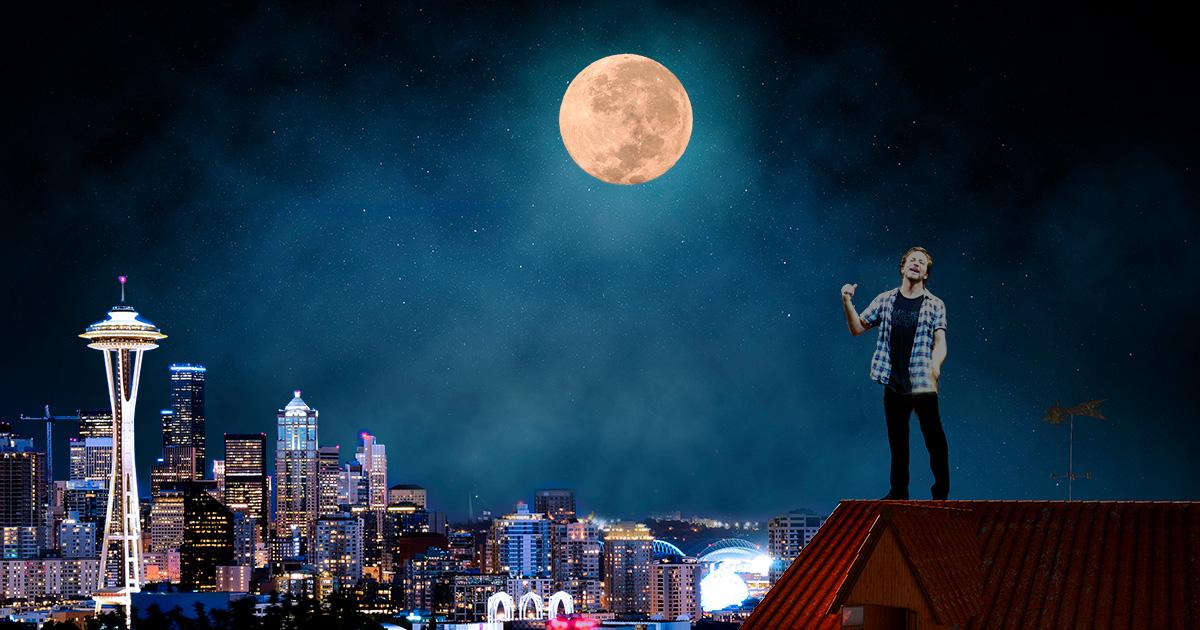 moon, night time, howl, foggy, full moon, werewolf, scary, horror, eddie vedder, transform, rooftop, loud, crazy, weird, drugs