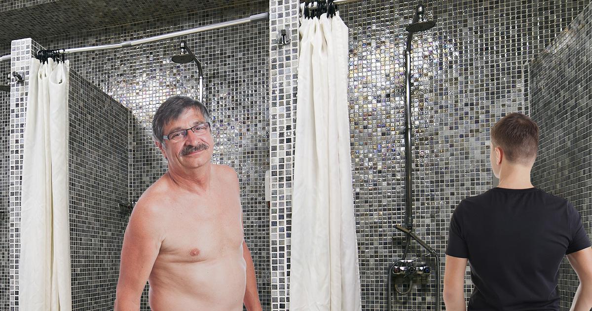 jock, dad, shower