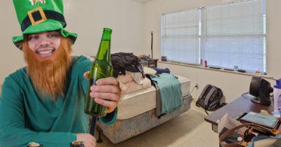leprechaun, cute, drunk, beer, green, green hat, ginger, beard, messy room, loser, saint patrick's day, mattress, bed made, one bedroom, depressing