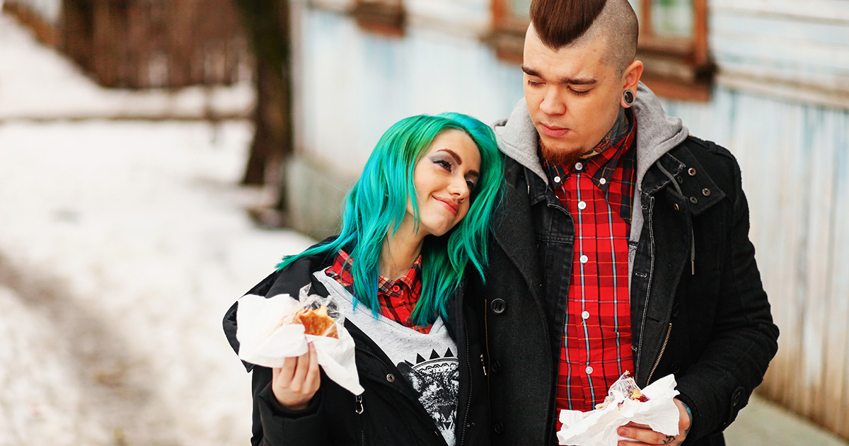 blue, hair, punk girl, burgers, eat, eat out, clean, get clean, drugs, drink, alcoholic, high, glue, sniff, coke, weed, beer, liquor, plaid, skinhead, OI