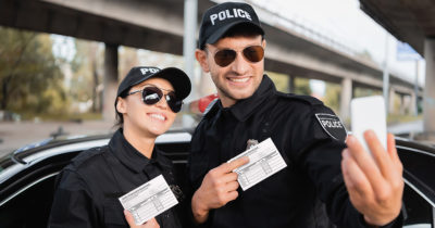cop, selfie, badge