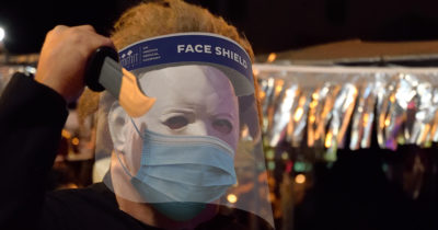 michael myers, triple mask, vaccine