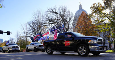 truck, flag, racist